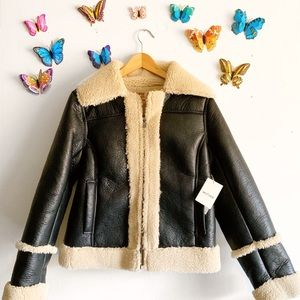NEW MOTHER Denim Black Sherpa Box Moto Jacket L